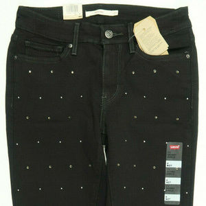 Levis 711 Skinny Black Studded Raw Hem Ankle Jeans